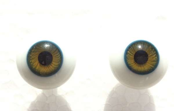 Glass eyes green blue. 18 mm