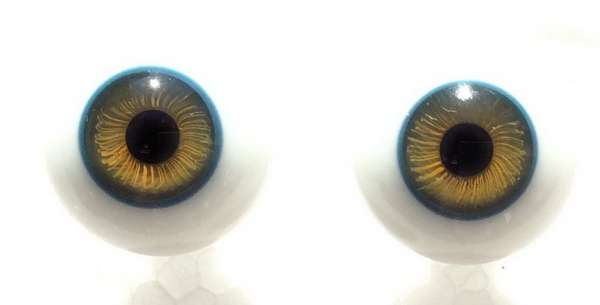 Glass eyes green blue. 16 mm