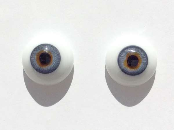 Glass eyes blue yellow. 18 mm