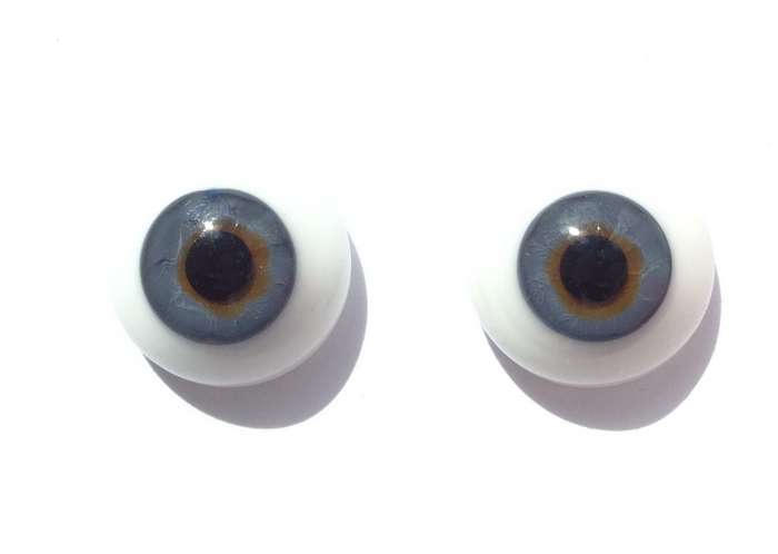Vintage glass eyes, blue iris. 20 mm