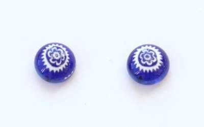 Flower on blue. 9 mm