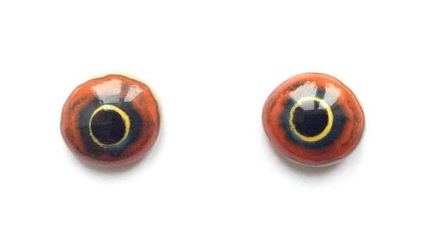 Red and yellow on beiges whit crackle. 16 mm