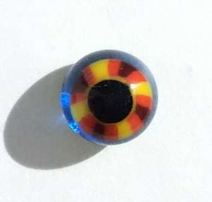 Yellow red on blue. 6 mm